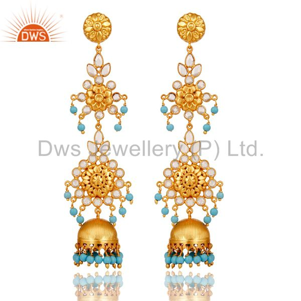 18K Gold Plated 925 Sterling Silver Turquoise Zircon Jhumka Earrings Jewelry