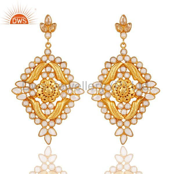 18k Gold Plated Traditional White Zircon Earrings Jewellery With Sterling Silver