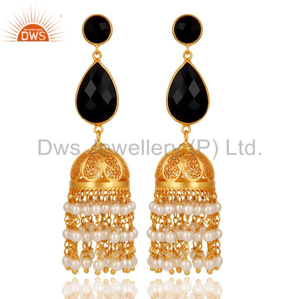 Black Onyx & Pearl Traditional Jhumka Earring 18K Gold Plated Sterling Silver