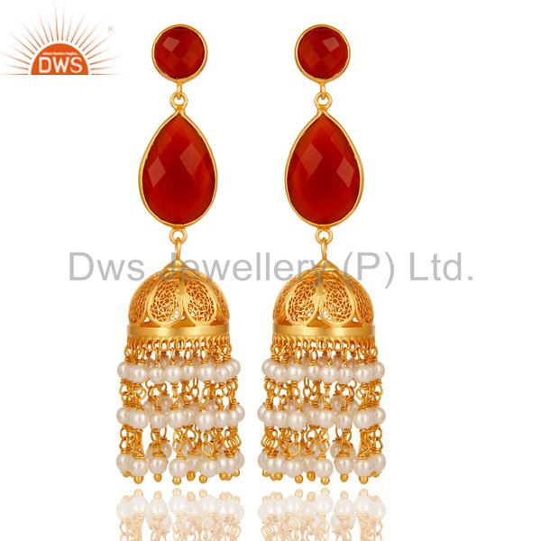 Red Onyx & Pearl Traditional Jhumka Earring 18K Gold Plated Sterling Silver