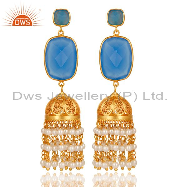 Chalcedony & Pearl Traditional Jhumka Earring 18K Gold Plated Sterling Silver
