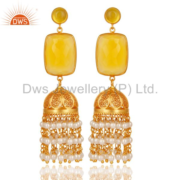 Chalcedony & Pearl Traditional Jhumka Earring 18K Gold Plated 925Sterling Silver