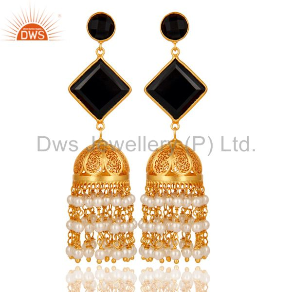 Pearl & Black Onyx Traditional Jhumka Earring 18K Gold Plated 925Sterling Silver