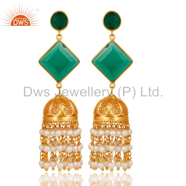 Pearl & Green Onyx Traditional Jhumka Earring 18K Gold Plated 925Sterling Silver