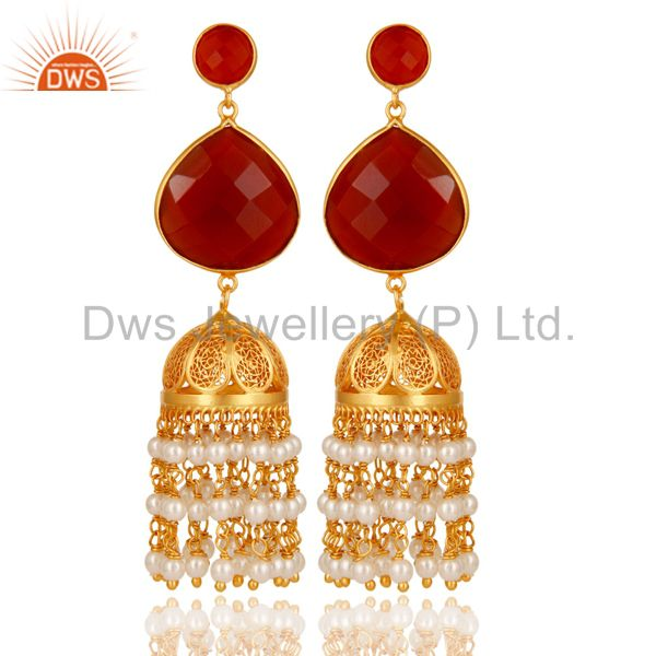 Pearl & Red Onyx Traditional Jhumka Earring 18K Gold Plated 925 Sterling Silver