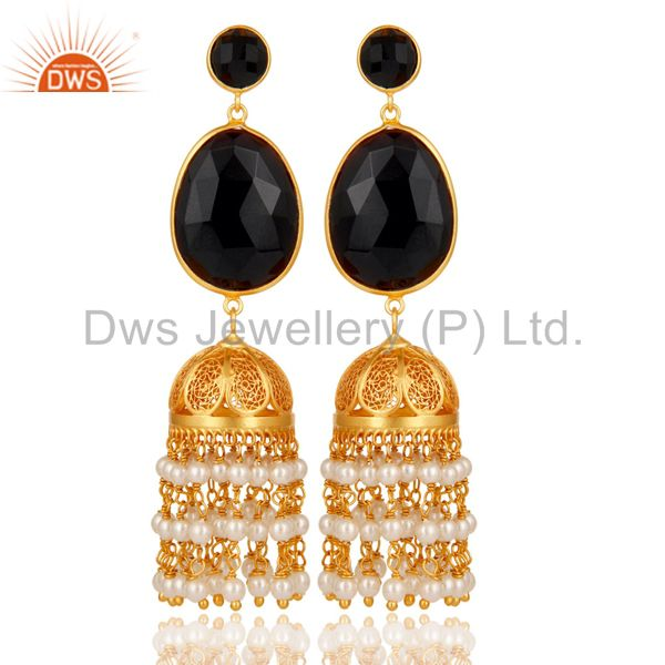 Pearl & Onyx Traditional Jhumka Earring 18K Gold Plated 925 Sterling Silver