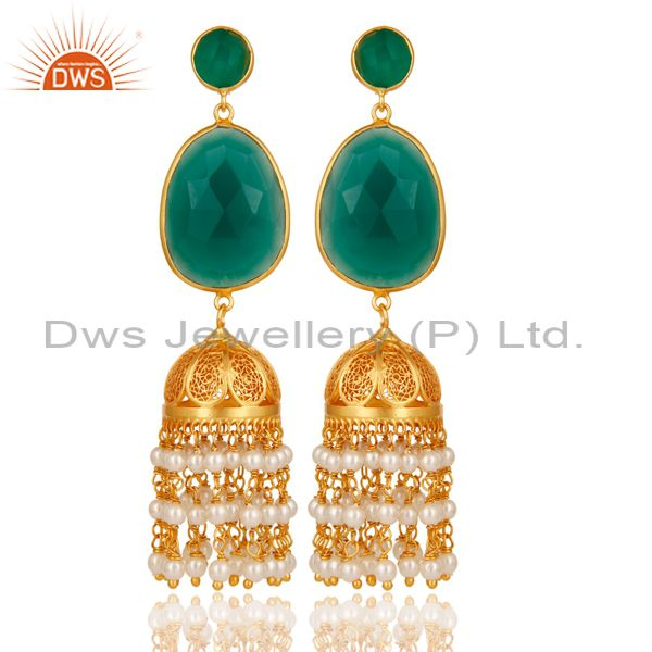 Pearl Bead & Onyx Traditional Jhumka Earring 18K Gold Plated 925 Sterling Silver