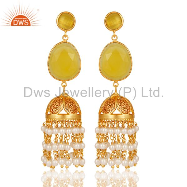 18k Yellow Gold Plated Sterling Silver Chalcedony & Pearl Jhumka Earrings
