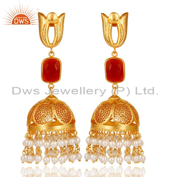 Onyx & Pearl 18K Gold Plated Jhumka Earrings 925 Sterling Silver