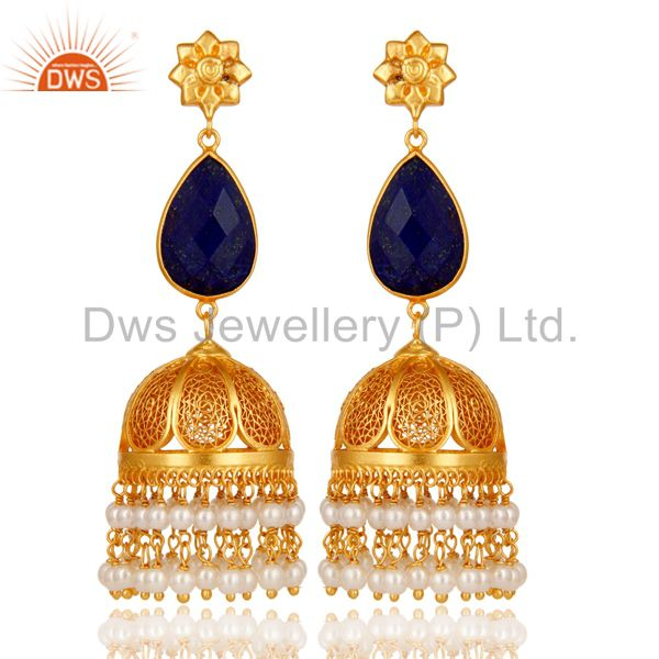 Lapis & Pearl 18K Gold Plated Jhumka Earrings 925 Sterling Silver