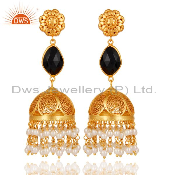 Black Onyx & Pearl Jhumka Earrings with 18k Gold Plated Sterling Silver