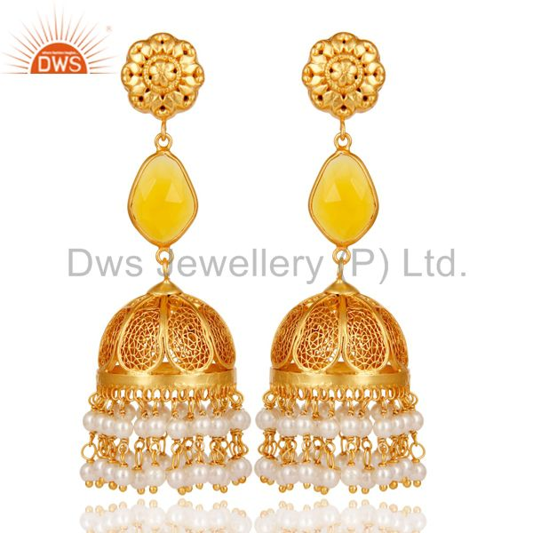 Chalcedony & Pearl Jhumka Earrings with 18k Gold Plated Sterling Silver
