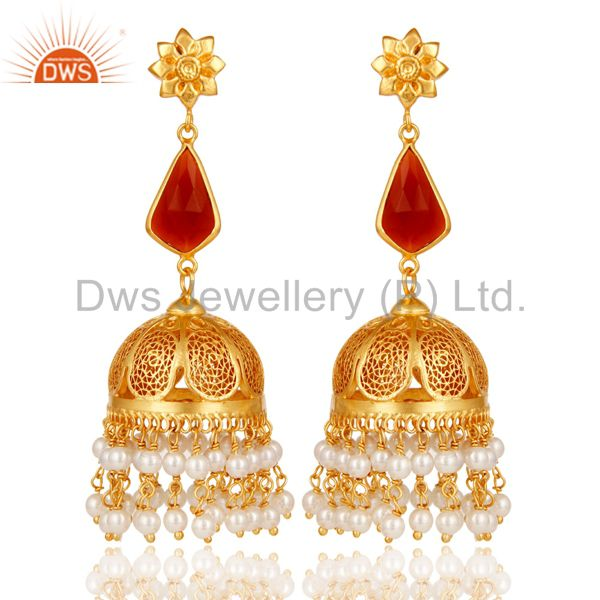 Red Onyx & Pearl Jhumka Earrings with 18k Gold Plated Sterling Silver
