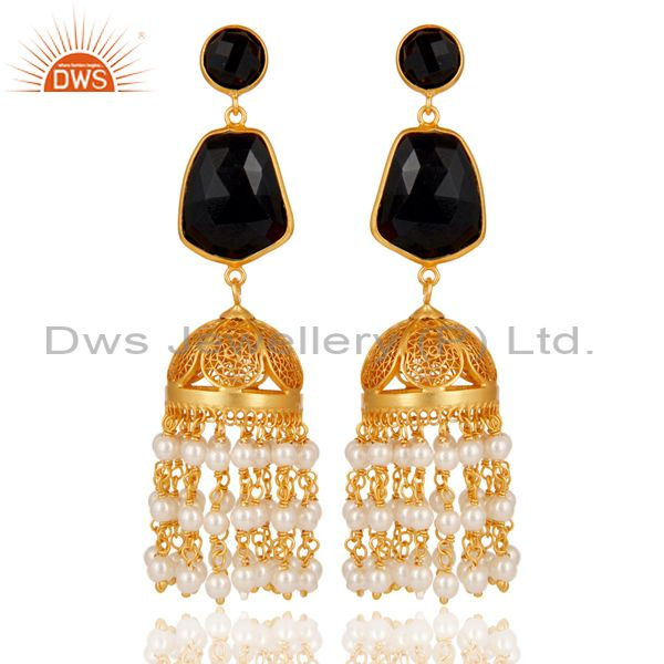 18k Gold Plated 925 Sterling Silver Jhumka Earrings with Onyx and Pearl