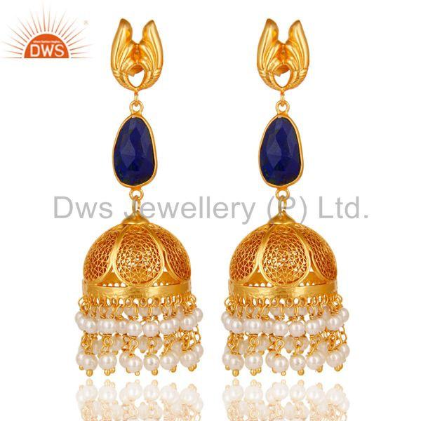 18k Gold Plated 925 Sterling Silver Jhumka Earrings with Lapis Lazuli & Pearl