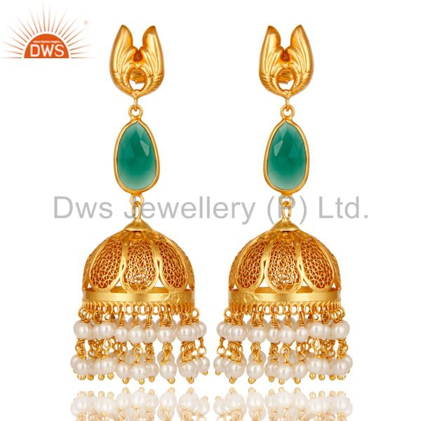 18k Gold Plated Sterling Silver Jhumka Earrings with Onyx and Pearl