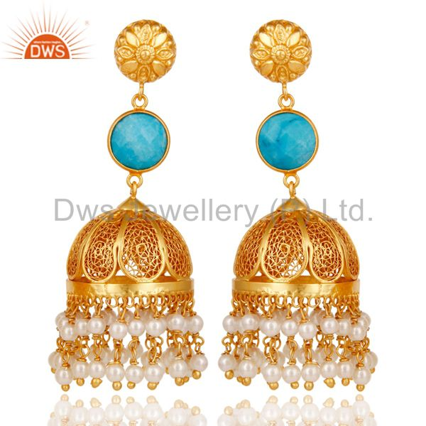 18k Gold Plated Sterling Silver Jhumka Earrings with Turquoise & Pearl