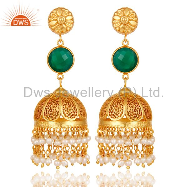 18k Gold Plated Sterling Silver Jhumka Earrings With Green Onyx & Pearl