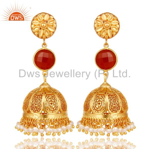18k Gold Plated 925 Sterling Silver Jhumka Earrings With Red Onyx & Pearl