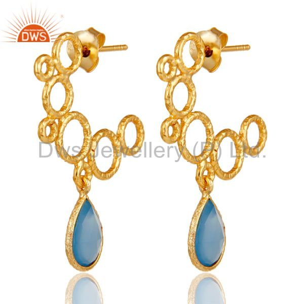 18k Yellow Gold Plated 925 Sterling Silver Dyed Blue Chalcedony Dangle Earrings