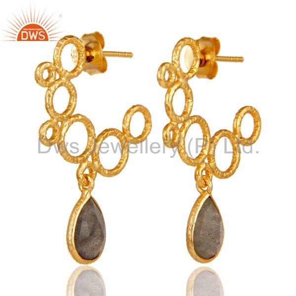 18k Yellow Gold Plated 925 Sterling Silver Natural Labradorite Dangle Earrings