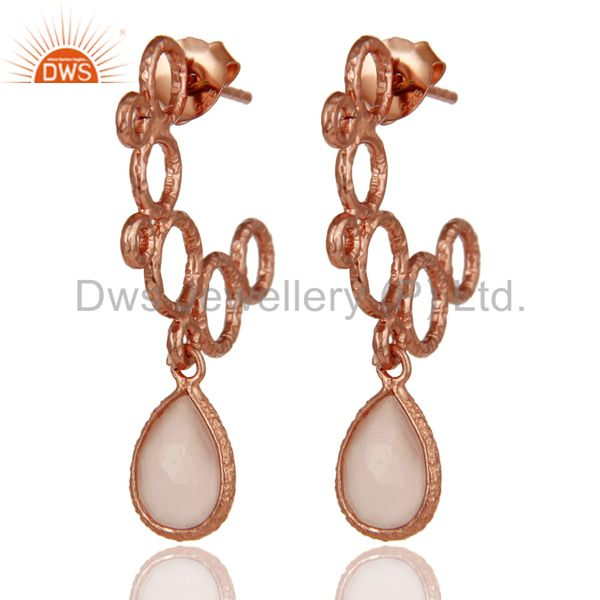 18k Rose Gold Plated Sterling Silver Bezel Set Dyed Chalcedony Dangle Earrings