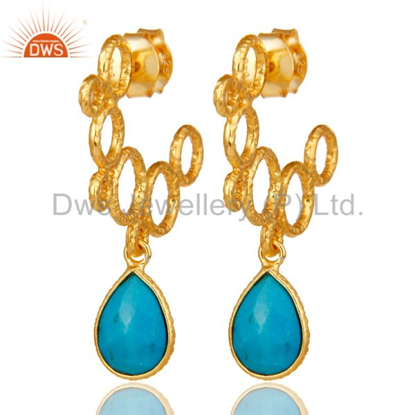 18k Yellow Gold Plated 925 Sterling Silver Bazel Set Turquoise Dangle Earrings