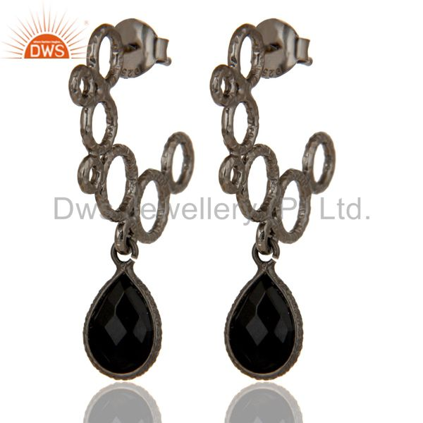 18k Yellow Gold Plated 925 Sterling Silver Bezel Set Black Onyx Dangle Earrings