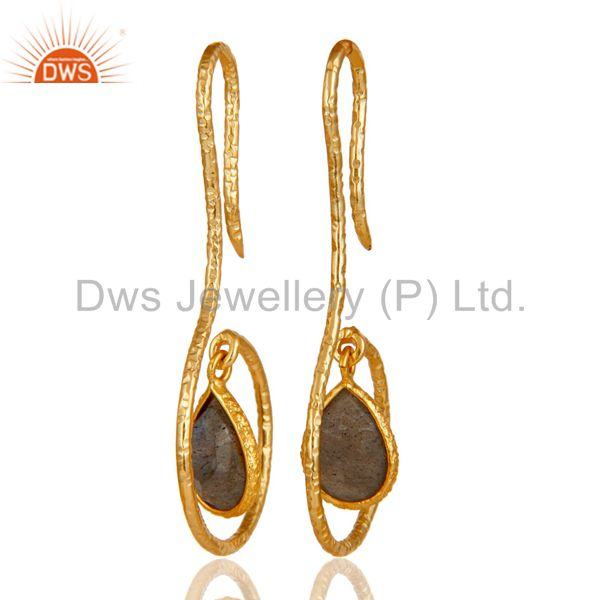 18k Yellow Gold Plated Sterling Silver Handmade Hang In Hook Labradorite Earring