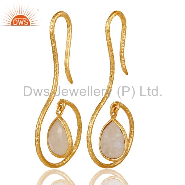 18k Gold Plated Sterling Silver Handmade Hang In Hook Rainbow Moonstone Earrings