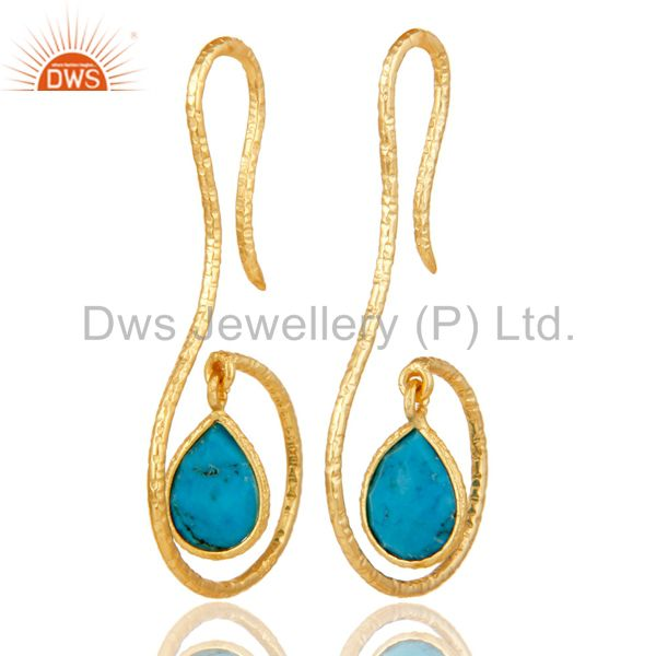 18k Gold Plated Sterling Silver Handmade Hang In Hook Natural Turquoise Earrings