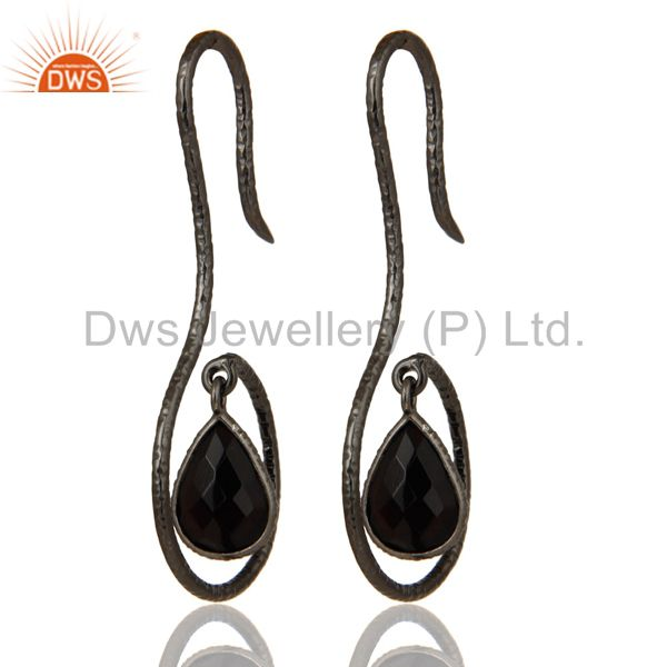 Black Oxidized Sterling Silver Handmade Hang In Hook Black Onyx Drops Earrings