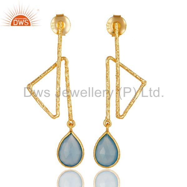 18k Yellow Gold Plated Sterling Silver Handmade Zig Zag Style Chalcedony Earring