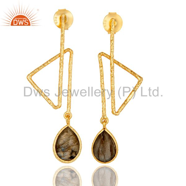 18k Gold Plated 925 Sterling Silver Handmade Zig Zag Style Labradorite Earrings