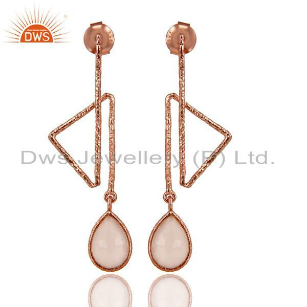 18k Rose Gold Plated Sterling Silver Handmade Zig Zag Style Chalcedony Earrings