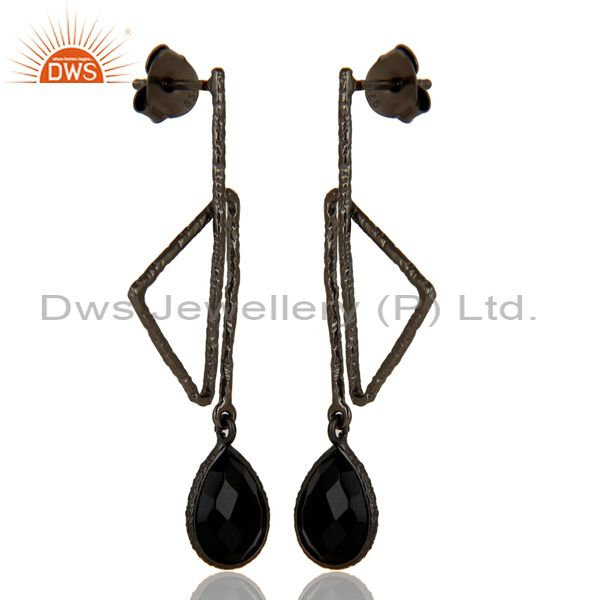 Black Oxidized 925 Sterling Silver Handmade Zig Zag Style Black Onyx Earrings
