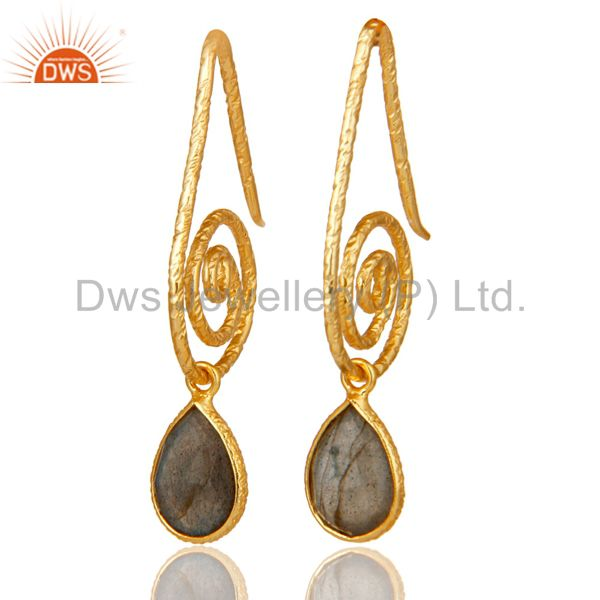 Hang In Hook Style Labradorite Earrings with 18k Gold Plated Sterling Silver