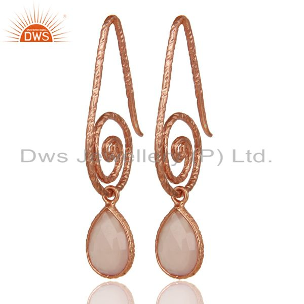 Hang In Hook Style Chalcedony Earrings With 18k Rose Gold Plated 925 Silver