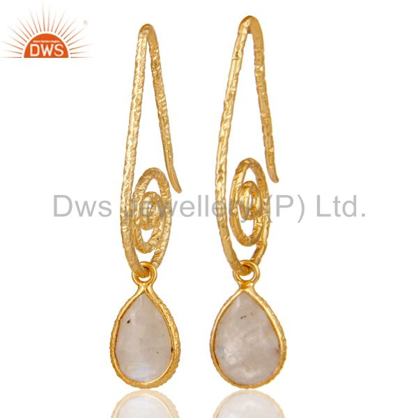 Hang In Hook Style Moonstone Drops Earrings with 18k Gold Plated Sterling Silver