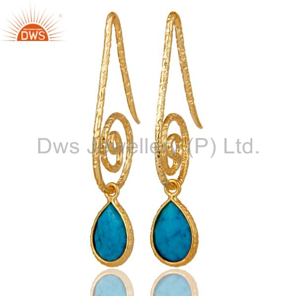 Hang In Hook Style Turquoise Drops Earrings with 18k Gold Plated Sterling Silver
