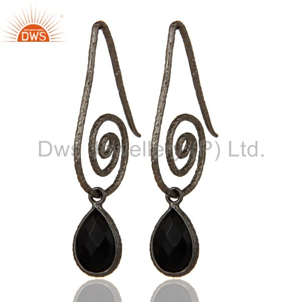 Hang In Hook Style Black Onyx Drops Earrings with Black oxidized Sterling Silver