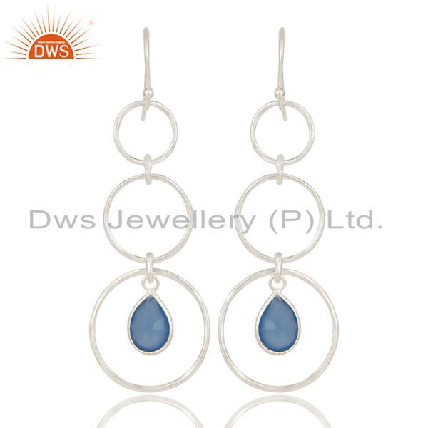 Indian Handmade Solid 925 Sterling Silver Dyed Chalcedony Bezel Set Earrings