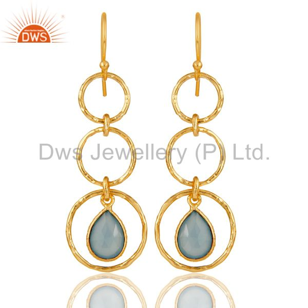 18k Gold Plated Sterling Silver Triple Round Cut Dangle Dyed Chalcedony Earring