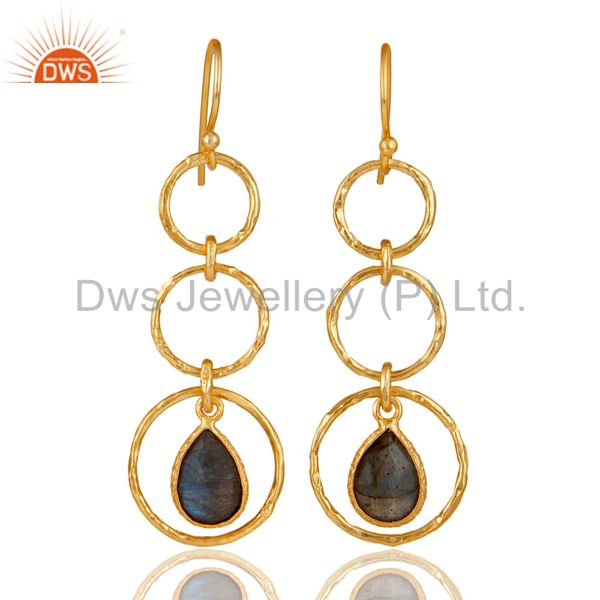 18k Gold Plated 925 Sterling Silver Triple Round Cut Dangle Labradorite Earring