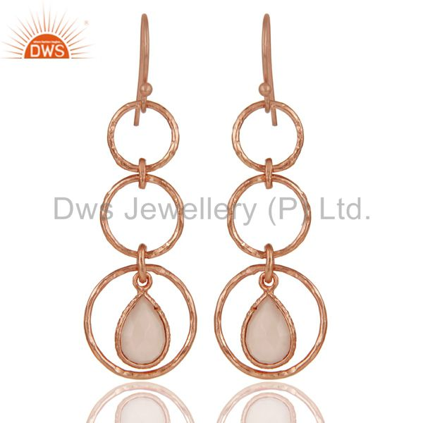 18k Rose Gold Plated Sterling Silver Triple Round Cut Dangle Chalcedony Earrings