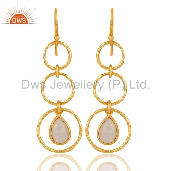 18k Yellow Gold Plated Sterling Silver Triple Round Cut Dangle Moonstone Earring
