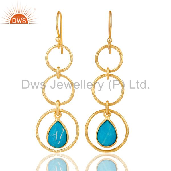 18k Gold Plated Sterling Silver Triple Round Cut Dangle Matrix Turquoise Earring