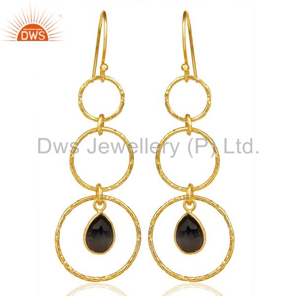 Black Onyx Hammered Circle Dangle 14K Gold Plated 92.5 Sterling Silver Earring