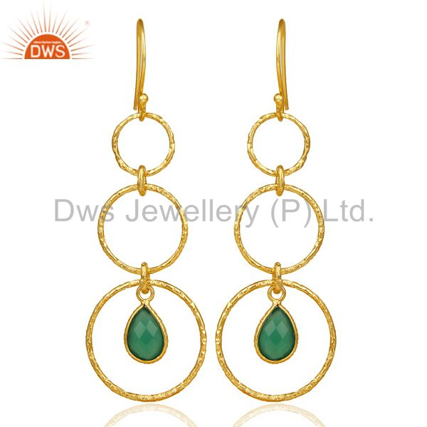 Green Onyx Hammered Circle Dangle 14K Gold Plated 92.5 Sterling Silver Earring