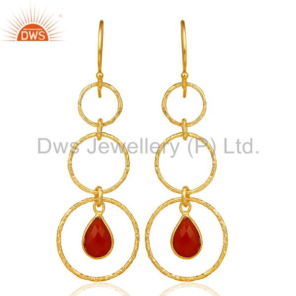 Red Onyx Hammered Circle Dangle 14K Gold Plated 92.5 Sterling Silver Earring